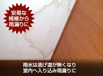 天井にできた雨染み