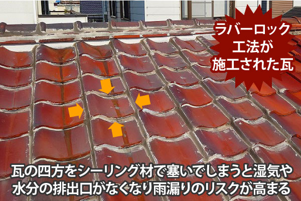 ラバーロック工法が施行された瓦は雨漏りのリスクが高まる