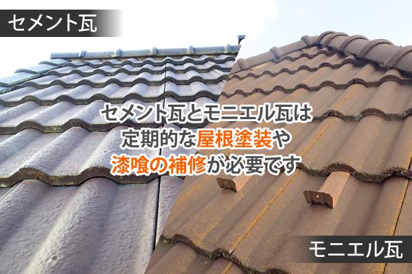 セメント瓦とモニエル瓦は定期的な屋根塗装や漆喰の補修が必要です