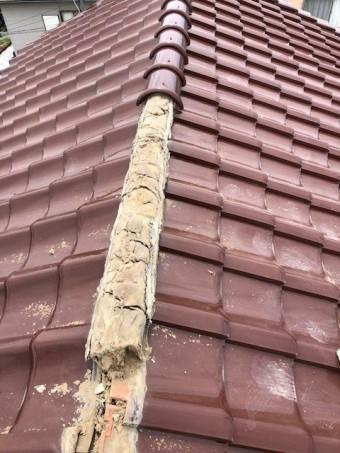 棟瓦の解体工事